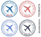 postal stamps with berlin title.... | Shutterstock .eps vector #705384376