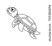 cute marine turtle | Shutterstock .eps vector #705386896