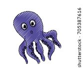 cute octopus cartoon | Shutterstock .eps vector #705387616