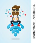 young man guy character sitting ... | Shutterstock . vector #705388816
