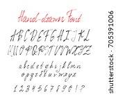 hand drawn brush stroke font.... | Shutterstock .eps vector #705391006