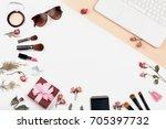 workplace view top. | Shutterstock . vector #705397732