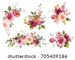 Stock photo set watercolor flowers hand painted floral illustration bouquet of flowers red rose design 705409186