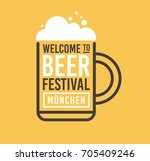 image of beer mug with foam and ... | Shutterstock .eps vector #705409246