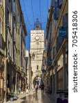 Small photo of APT, FRANCE - AUG 12, 2017: people visit the clock tower and the old town of Apt. Apt is a main touristic spot in the Provence.