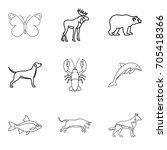 dolphin icons set. outline set... | Shutterstock .eps vector #705418366