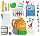 back to school hand drawn... | Shutterstock .eps vector #705421366