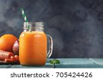 smoothies of mango  orange and... | Shutterstock . vector #705424426