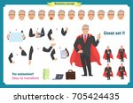 set of super businessman... | Shutterstock .eps vector #705424435