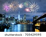 fireworks over new york city... | Shutterstock . vector #705429595