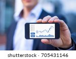 Small photo of Trader showing smartphone screen with trading interface dashboard with candlestick chart, quotes and buy sell buttons, stock exchange and fintech concept