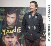Small photo of DUBLIN, IRELAND - 5 AUGUST 2017: Acclaimed actor, writer and director Ethan Hawke poses for the press after a screening of his latest film, 'Maudie', in the Lighthouse Cinema, Dublin.