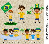 set of boys with national flags ...   Shutterstock .eps vector #705444052