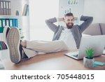 happy satisfied businessman... | Shutterstock . vector #705448015