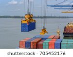 port cargo crane lifting