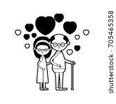 caricature full body elderly...   Shutterstock .eps vector #705465358