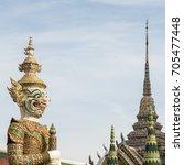 demon guardian in wat phra kaew ... | Shutterstock . vector #705477448
