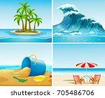 four scene of ocean at summer... | Shutterstock .eps vector #705486706
