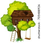 treehouse with swing on the... | Shutterstock .eps vector #705488926