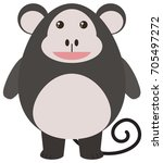 cute monkey on white background ... | Shutterstock .eps vector #705497272