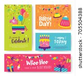 set of colorful birthday cards... | Shutterstock .eps vector #705504388