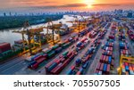 container ship in import export ... | Shutterstock . vector #705507505