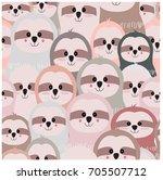 vintage cute lovely funny sloth ... | Shutterstock .eps vector #705507712
