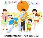 a concert of the full moon... | Shutterstock .eps vector #705508012