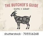 cut of meat set. poster butcher ...   Shutterstock .eps vector #705516268