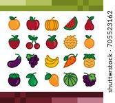 fruit icons set   Shutterstock .eps vector #705523162
