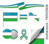 flag with elements uzbekistan   Shutterstock .eps vector #705525838