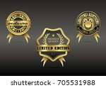 set of luxury gold limited... | Shutterstock . vector #705531988