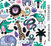 seamless safari pattern. jungle ... | Shutterstock .eps vector #705534385