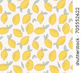 lemon and leaves seamless... | Shutterstock .eps vector #705552622