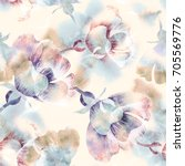 summer flowers seamless pattern.... | Shutterstock . vector #705569776