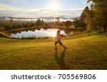 happy boy runs on the morning...   Shutterstock . vector #705569806