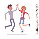 young man and woman jumping... | Shutterstock .eps vector #705577192