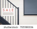 sale real estate sign in front... | Shutterstock . vector #705580336