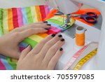 woman seamstress sitting and... | Shutterstock . vector #705597085