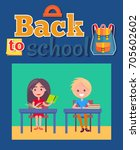 back to school poster with... | Shutterstock .eps vector #705602602