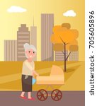 grandmother walking with... | Shutterstock .eps vector #705605896