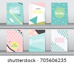 set of birthday card on retro... | Shutterstock .eps vector #705606235