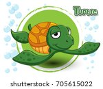 cute cartoon turtle on a color...   Shutterstock .eps vector #705615022