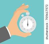 hand holding stopwatch  | Shutterstock .eps vector #705617572