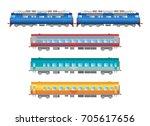 vector flat  railway locomotive ... | Shutterstock .eps vector #705617656