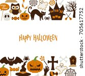 happy halloween vector... | Shutterstock .eps vector #705617752