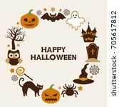 happy halloween vector... | Shutterstock .eps vector #705617812