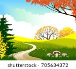 autumn landscape. vector... | Shutterstock .eps vector #705634372