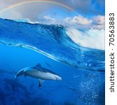 Ocean-view splitted two parts First with few sharks in blue underwater Second with sunlight and cloudy sky and rainbow seascape splashed breaking surfing wave - stock photo