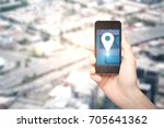 male hand holding smartphone... | Shutterstock . vector #705641362